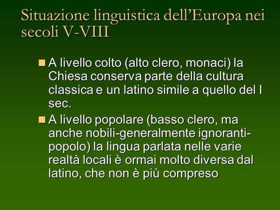 Situazione linguistica dell'Europa nei secoli V-VIII
