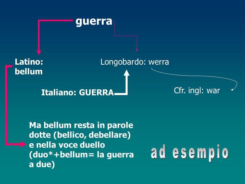 ad esempio guerra Latino: bellum Longobardo: werra Cfr. ingl: war