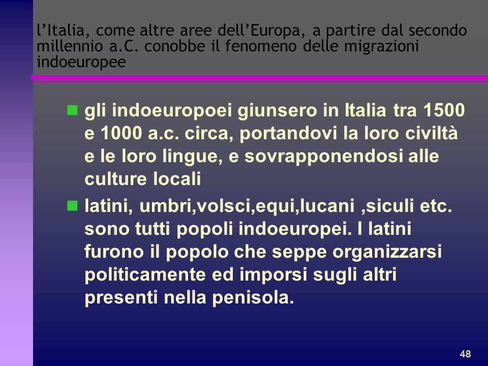 l'Italia, come altre aree dell'Europa, a partire dal secondo millennio a.C. conobbe il fenomeno delle migrazioni indoeuropee