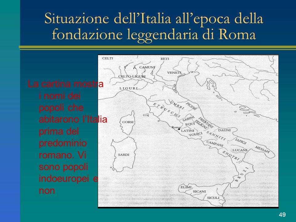 Situazione dell'Italia all'epoca della fondazione leggendaria di Roma