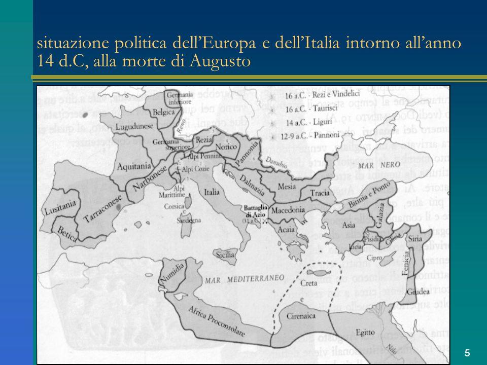 situazione politica dell'Europa e dell'Italia intorno all'anno 14 d