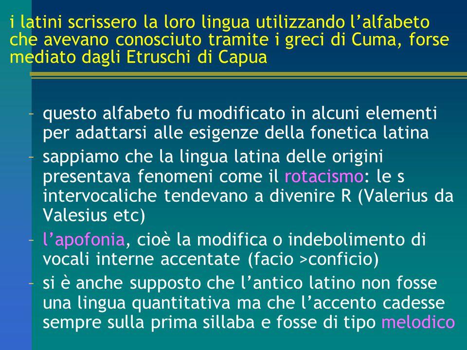i latini scrissero la loro lingua utilizzando l'alfabeto che avevano conosciuto tramite i greci di Cuma, forse mediato dagli Etruschi di Capua
