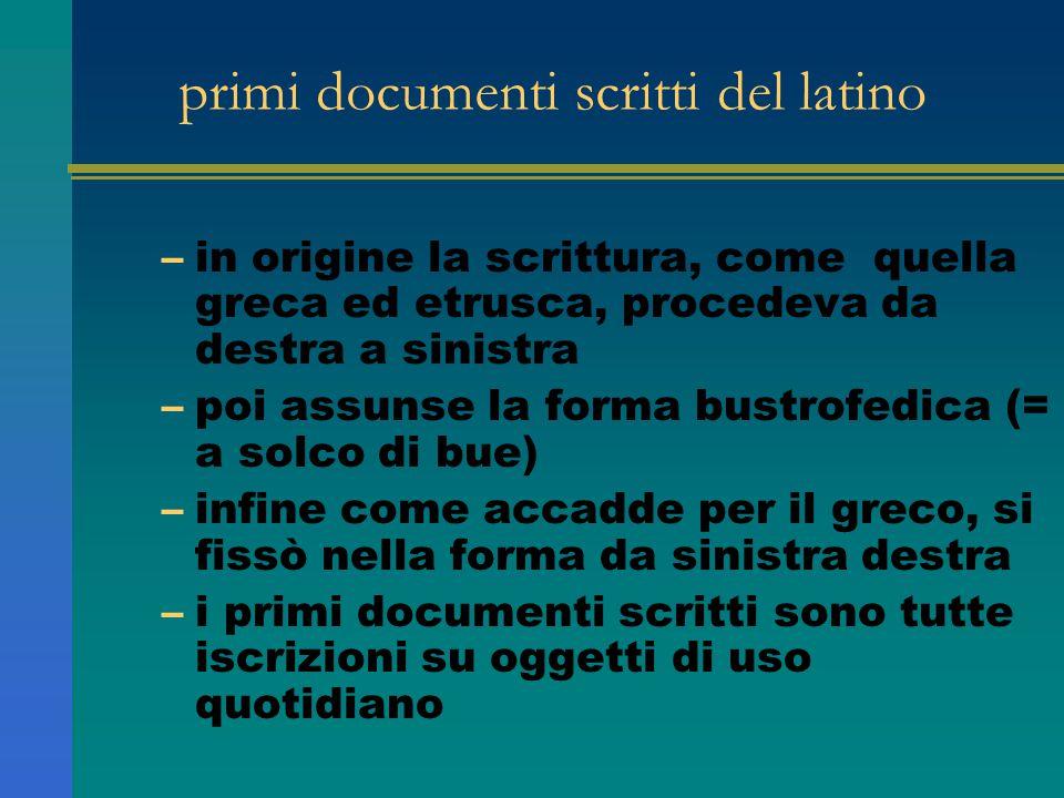 primi documenti scritti del latino