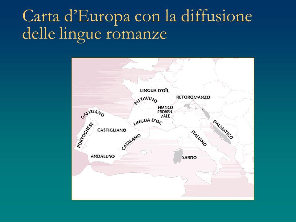 Carta d'Europa con la diffusione delle lingue romanze