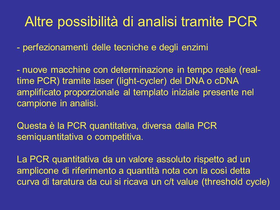 Altre possibilità di analisi tramite PCR