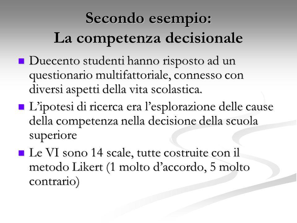 Secondo esempio: La competenza decisionale