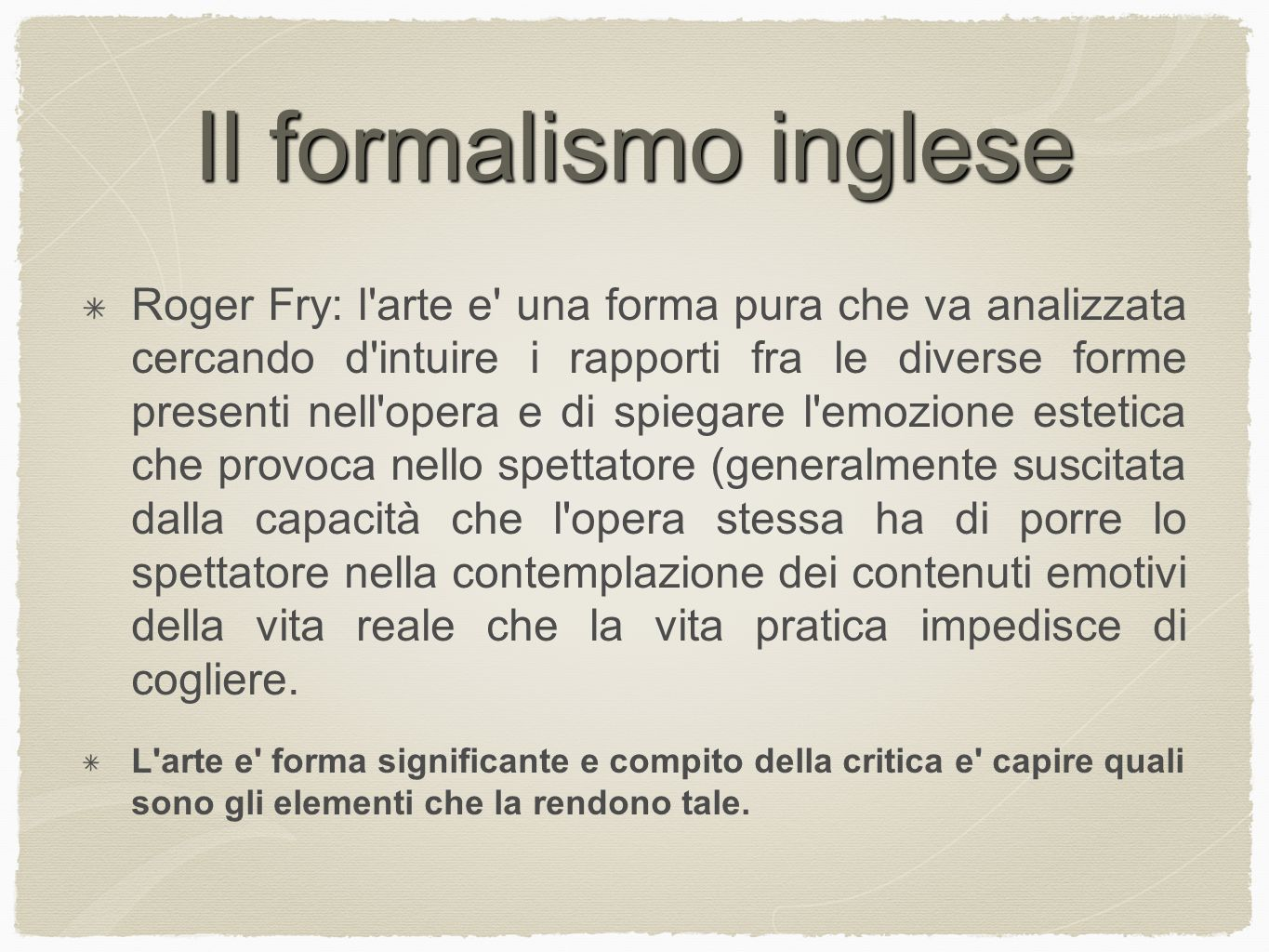 Il formalismo inglese