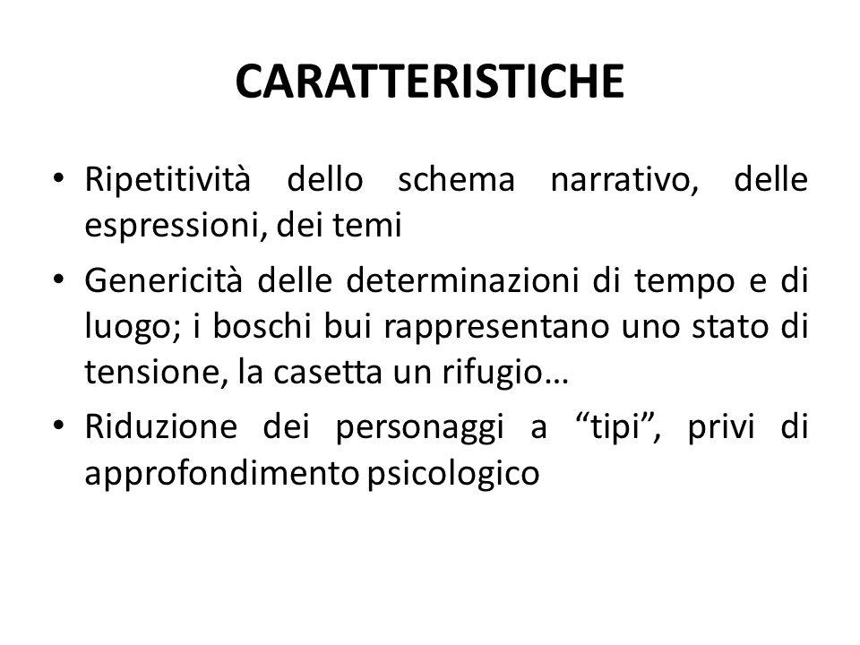 CARATTERISTICHE Ripetitività dello schema narrativo, delle espressioni, dei temi.