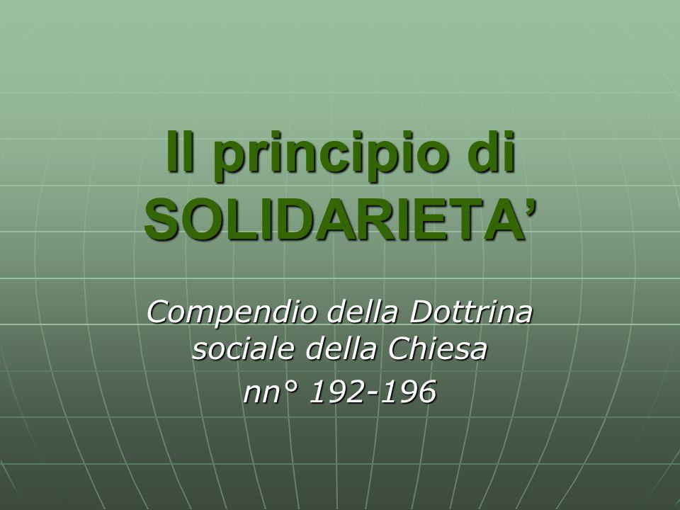 Il principio di SOLIDARIETA'