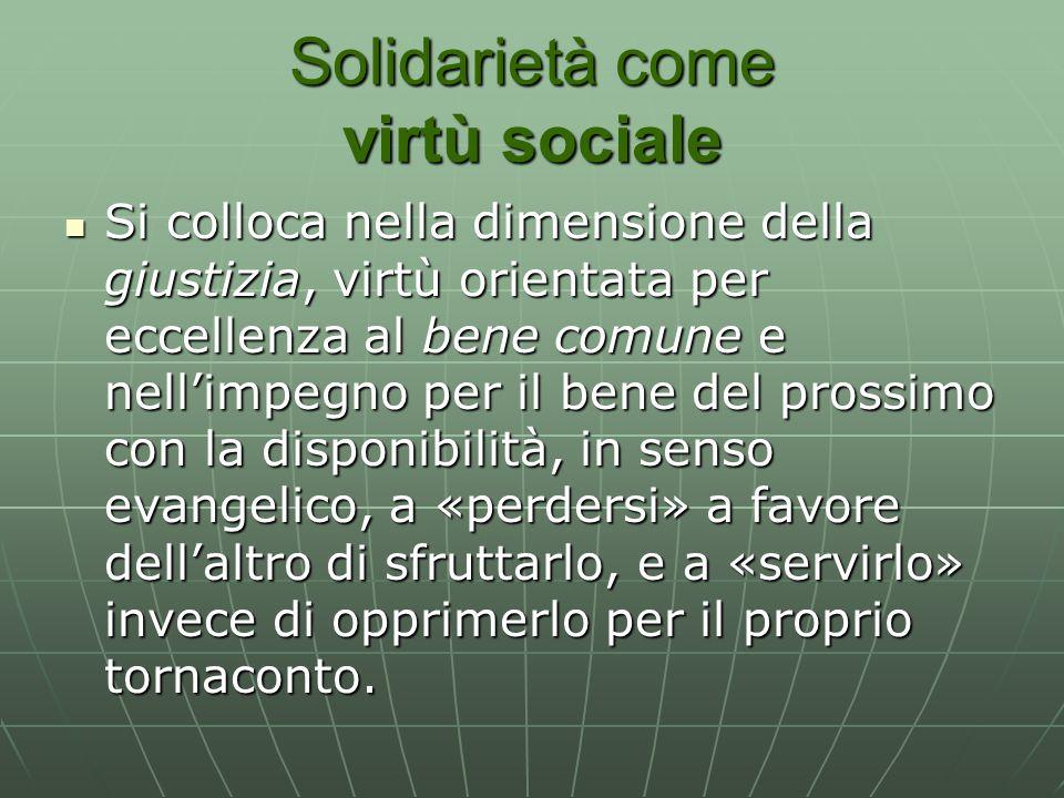 Solidarietà come virtù sociale