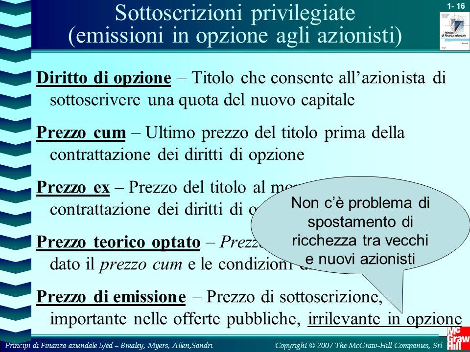 Sottoscrizioni privilegiate (emissioni in opzione agli azionisti)