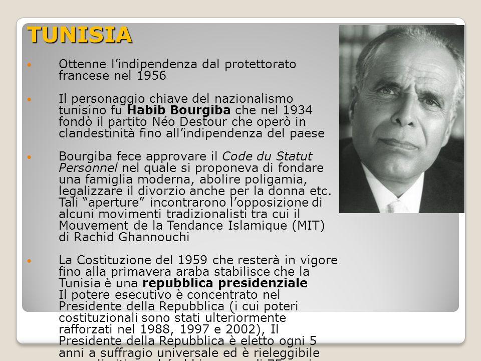 TUNISIA Ottenne l'indipendenza dal protettorato francese nel 1956