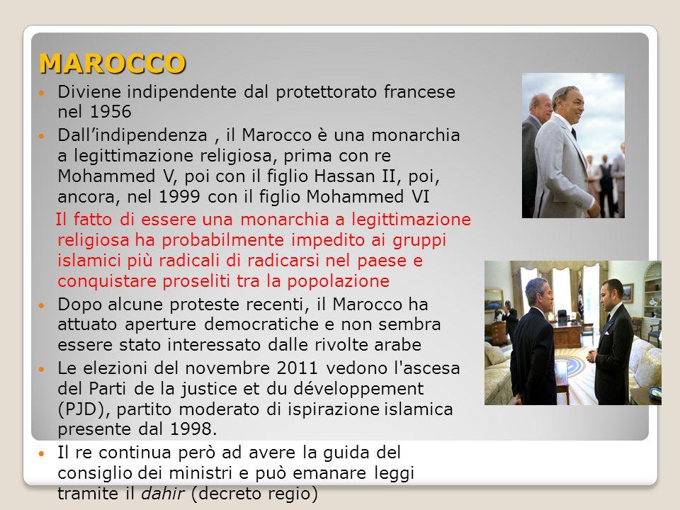 MAROCCO Diviene indipendente dal protettorato francese nel 1956