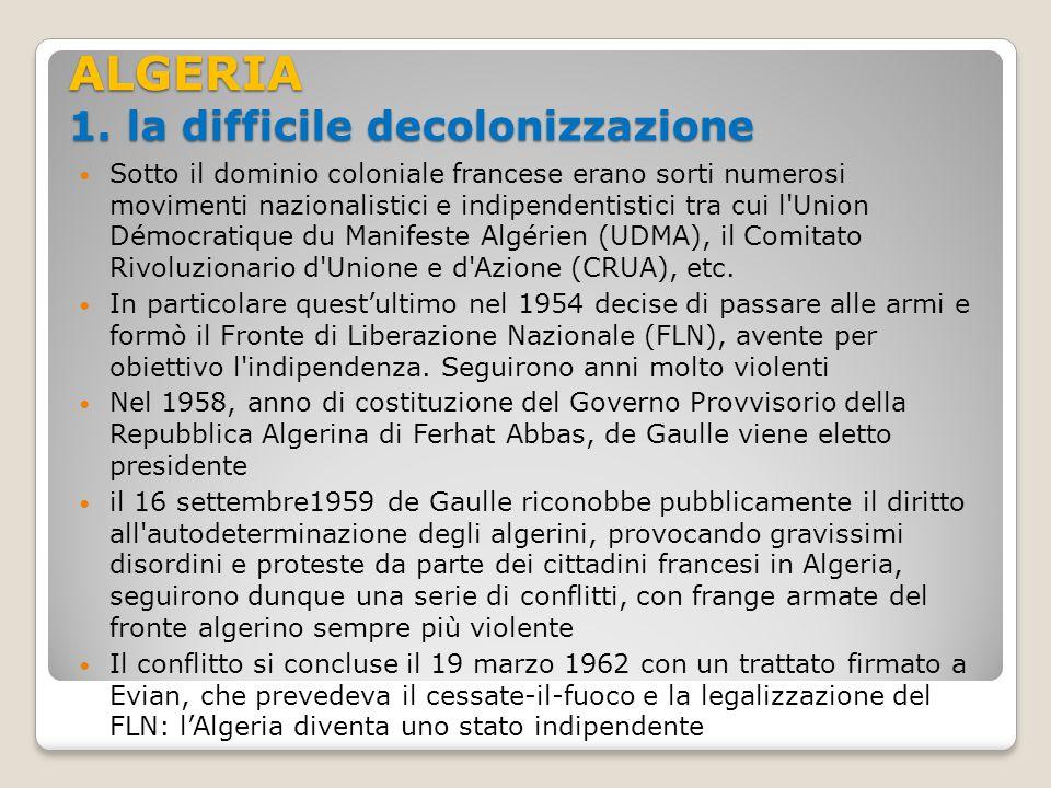 ALGERIA 1. la difficile decolonizzazione