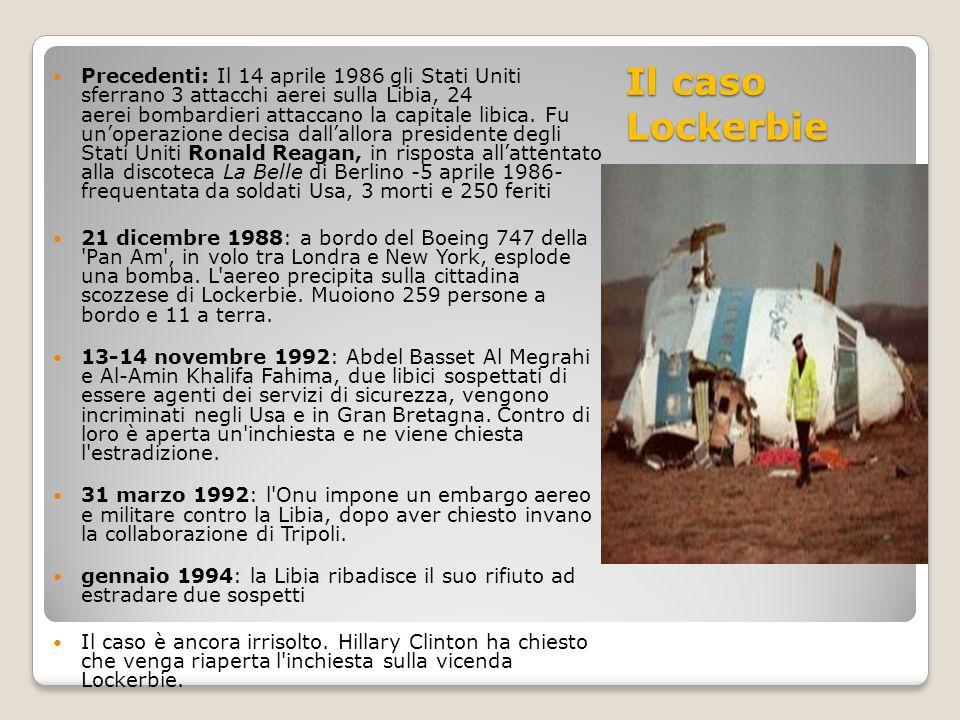 Precedenti: Il 14 aprile 1986 gli Stati Uniti sferrano 3 attacchi aerei sulla Libia, 24 aerei bombardieri attaccano la capitale libica. Fu un'operazione decisa dall'allora presidente degli Stati Uniti Ronald Reagan, in risposta all'attentato alla discoteca La Belle di Berlino -5 aprile 1986- frequentata da soldati Usa, 3 morti e 250 feriti