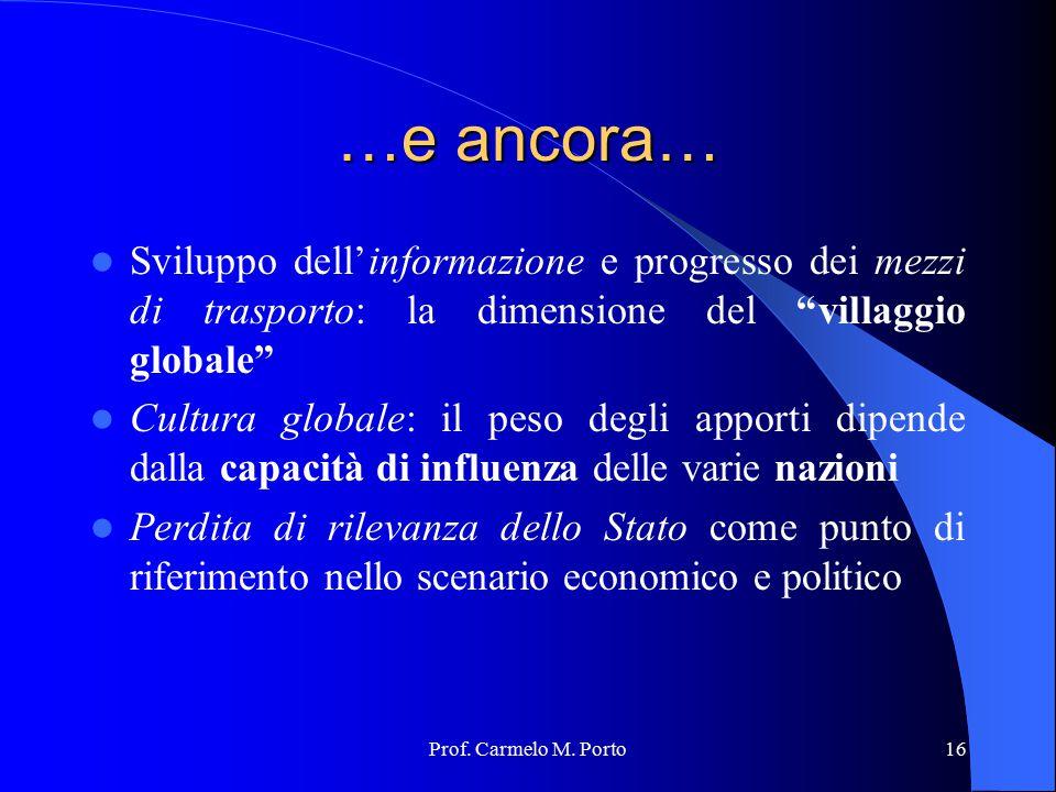 …e ancora… Sviluppo dell'informazione e progresso dei mezzi di trasporto: la dimensione del villaggio globale