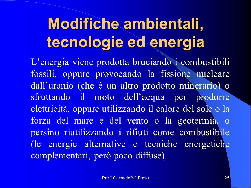 Modifiche ambientali, tecnologie ed energia