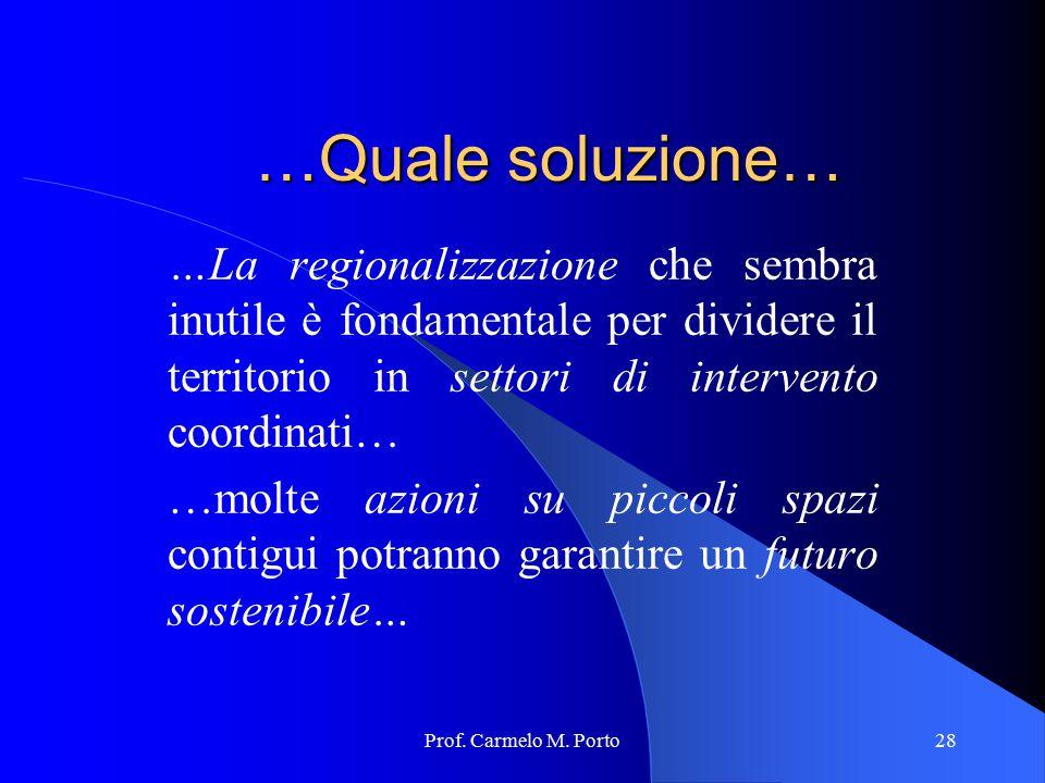 …Quale soluzione… …La regionalizzazione che sembra inutile è fondamentale per dividere il territorio in settori di intervento coordinati…