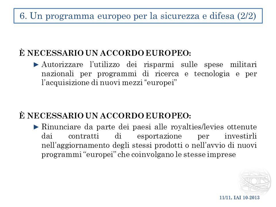 6. Un programma europeo per la sicurezza e difesa (2/2)