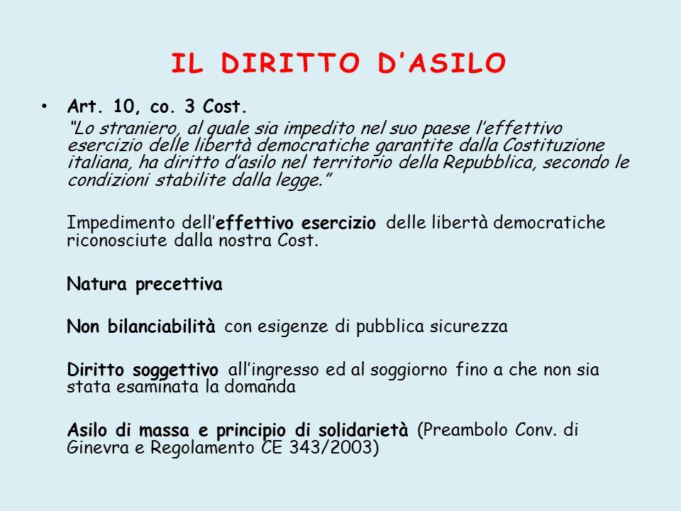 IL DIRITTO D'ASILO Art. 10, co. 3 Cost.