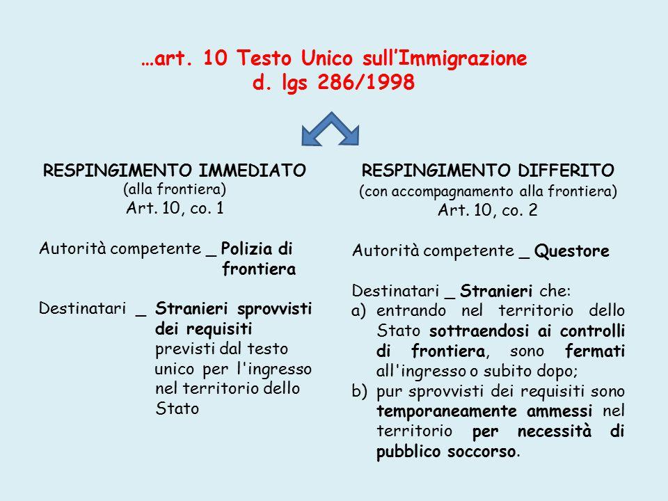 …art. 10 Testo Unico sull'Immigrazione d. lgs 286/1998