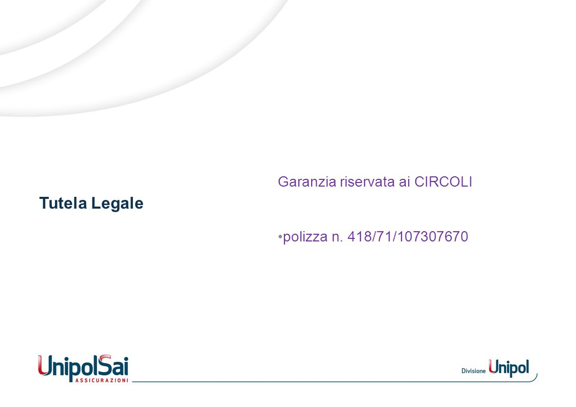 Tutela Legale Garanzia riservata ai CIRCOLI