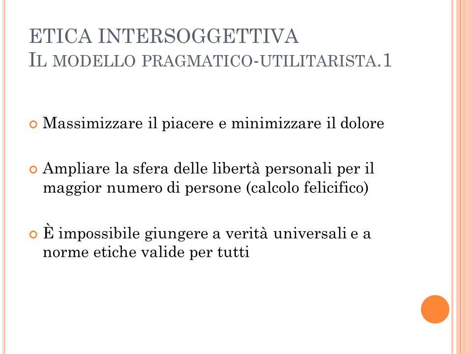 ETICA INTERSOGGETTIVA Il modello pragmatico-utilitarista.1
