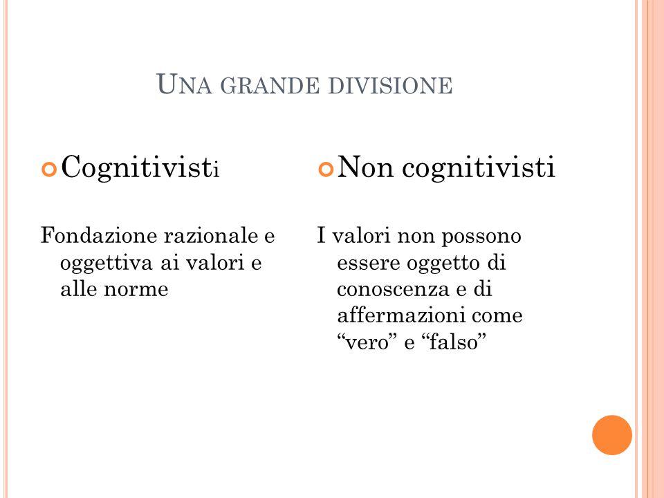 Cognitivisti Non cognitivisti Una grande divisione