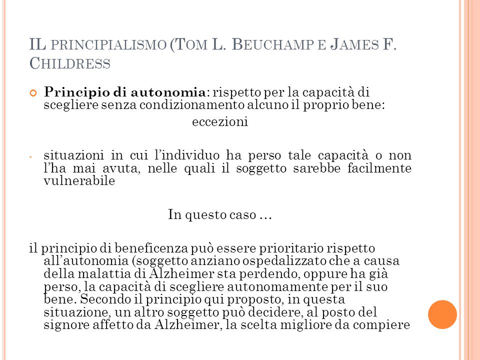 IL principialismo (Tom L. Beuchamp e James F. Childress