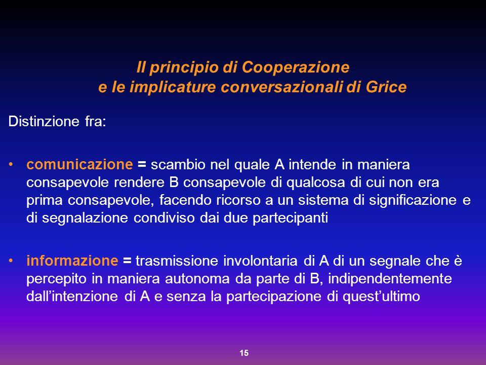 Il principio di Cooperazione e le implicature conversazionali di Grice