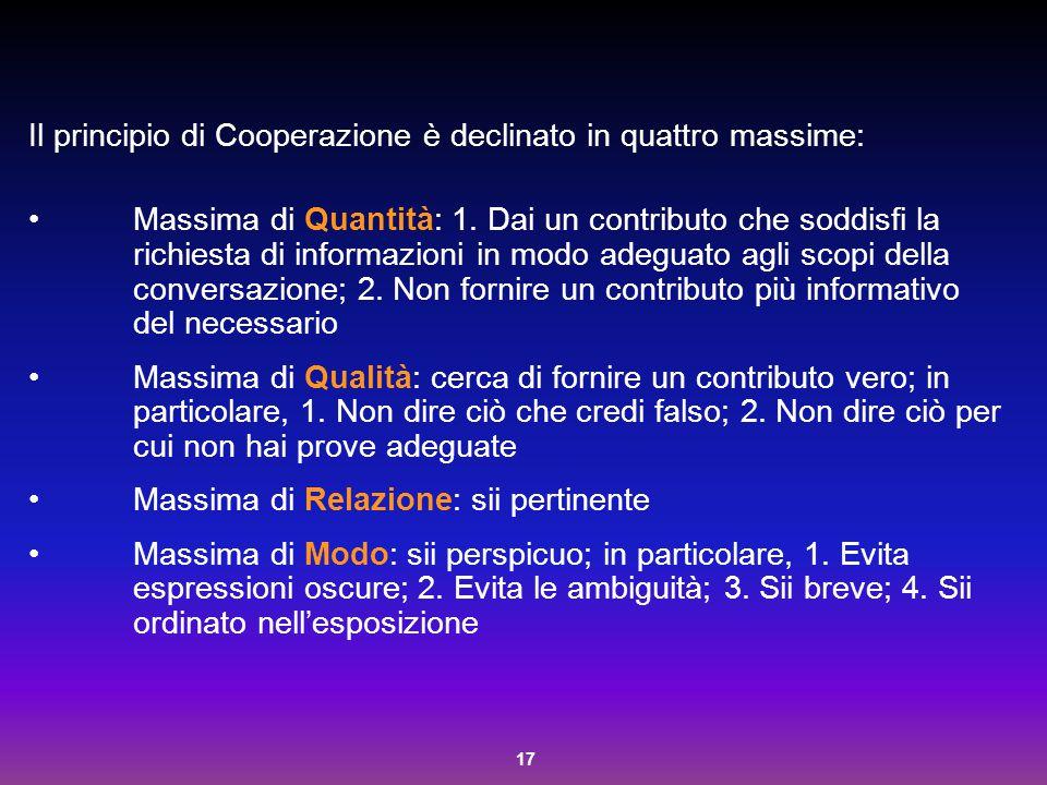 Il principio di Cooperazione è declinato in quattro massime: