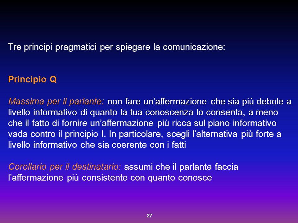 Tre principi pragmatici per spiegare la comunicazione: