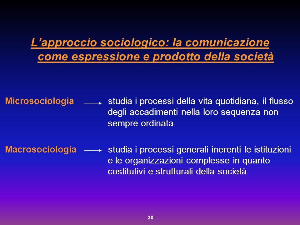 L'approccio sociologico: la comunicazione come espressione e prodotto della società