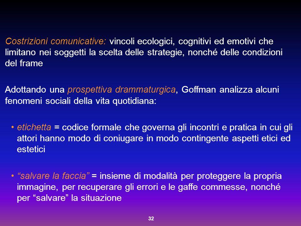 Costrizioni comunicative: vincoli ecologici, cognitivi ed emotivi che limitano nei soggetti la scelta delle strategie, nonché delle condizioni del frame