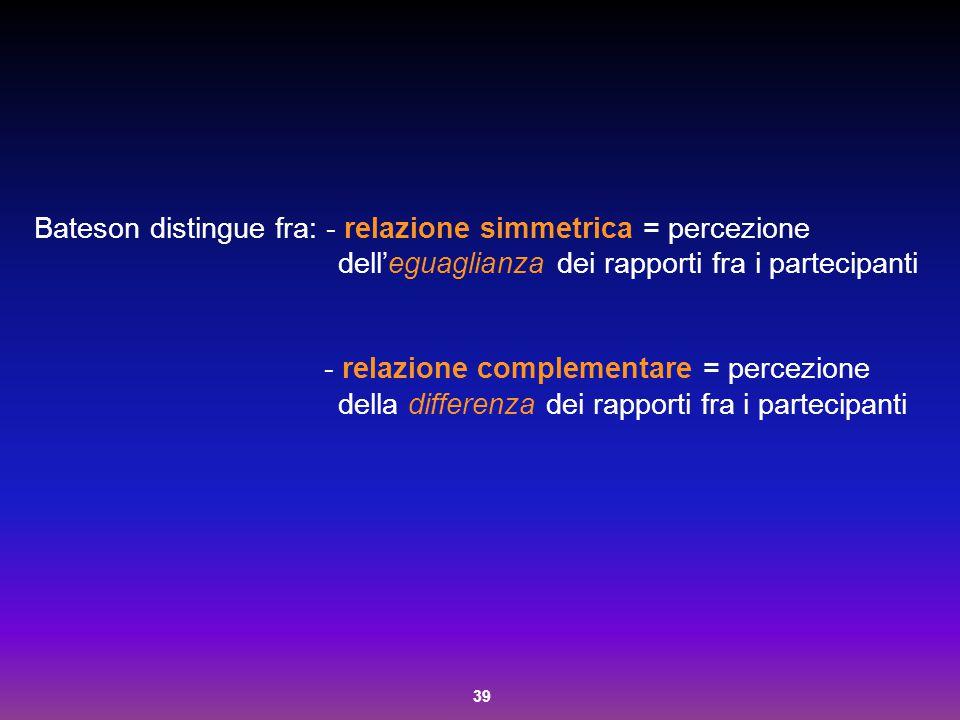 Bateson distingue fra: - relazione simmetrica = percezione