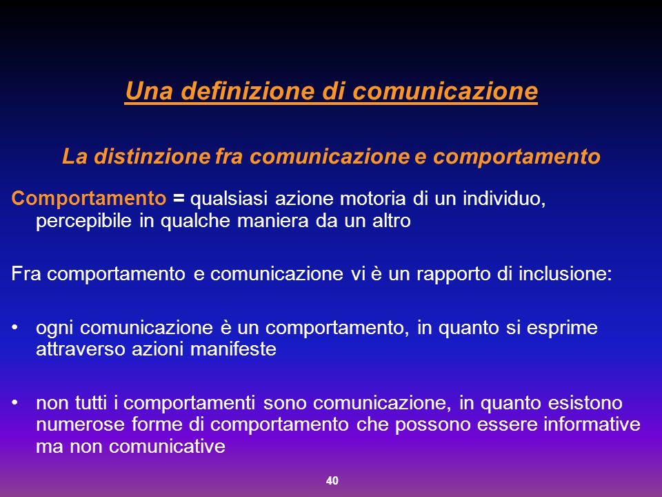 Una definizione di comunicazione