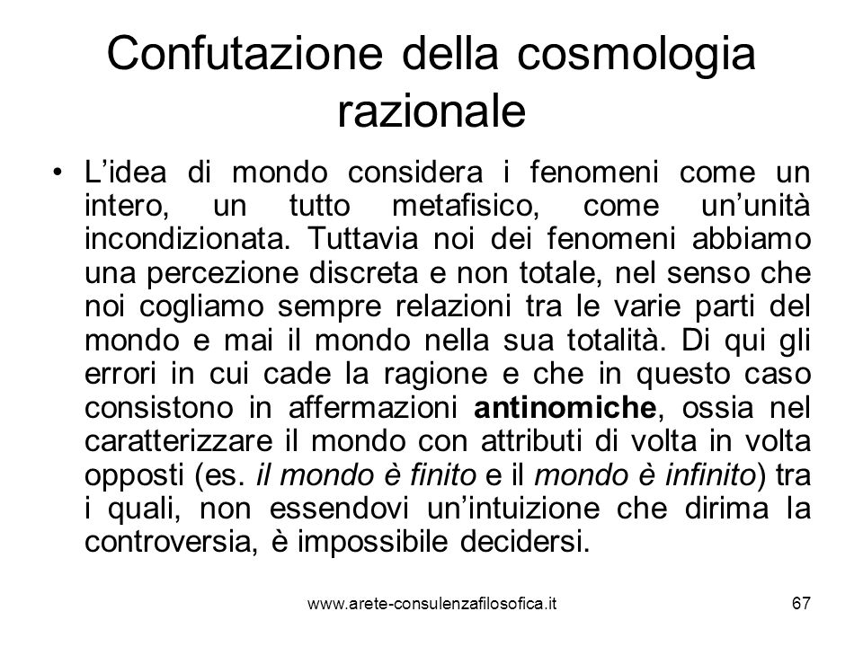 Confutazione della cosmologia razionale