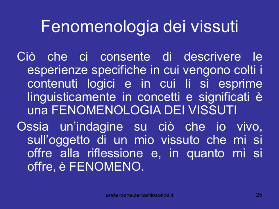 Fenomenologia dei vissuti