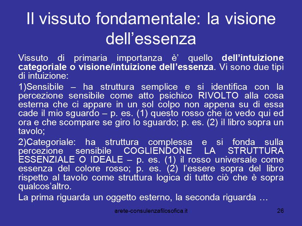 Il vissuto fondamentale: la visione dell'essenza