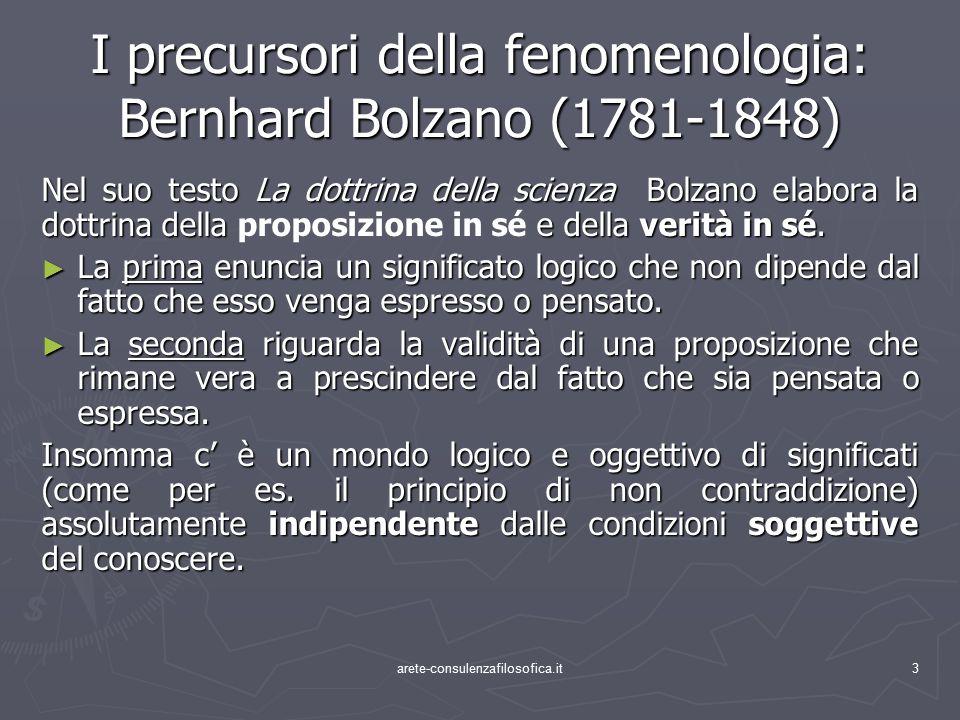 I precursori della fenomenologia: Bernhard Bolzano (1781-1848)