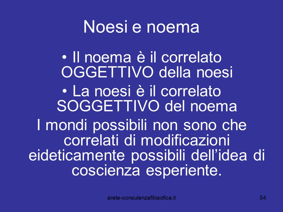 Noesi e noema Il noema è il correlato OGGETTIVO della noesi