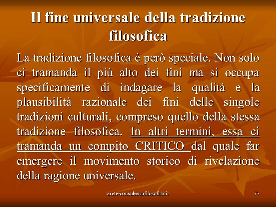 Il fine universale della tradizione filosofica