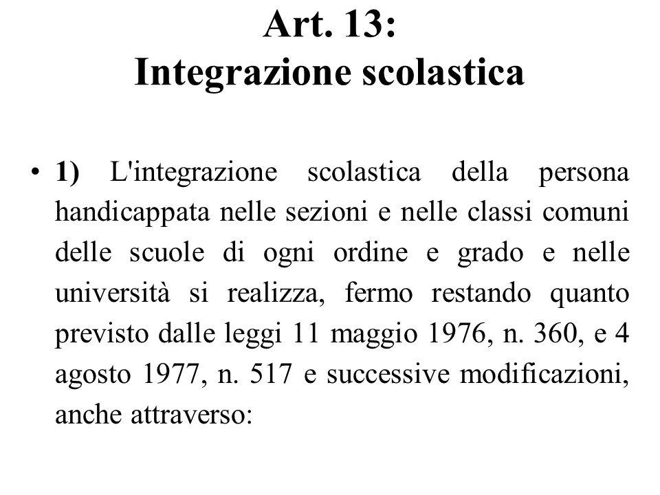 Art. 13: Integrazione scolastica