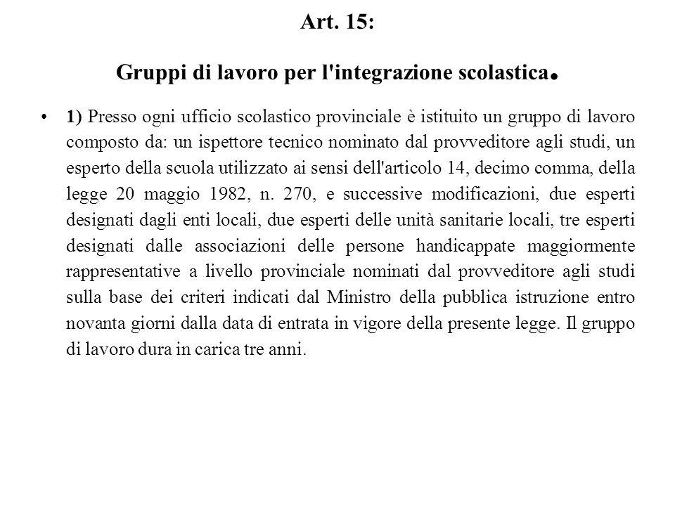 Art. 15: Gruppi di lavoro per l integrazione scolastica.