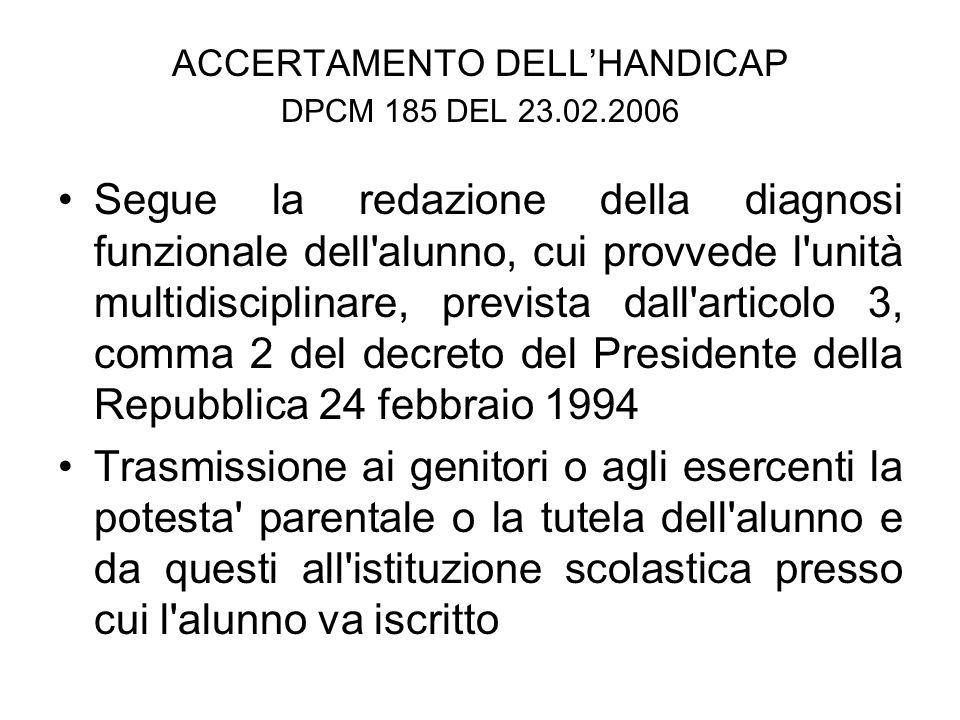 ACCERTAMENTO DELL'HANDICAP DPCM 185 DEL 23.02.2006