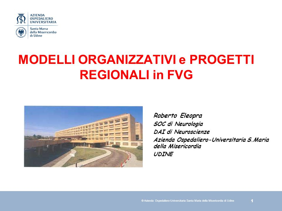 MODELLI ORGANIZZATIVI e PROGETTI REGIONALI in FVG