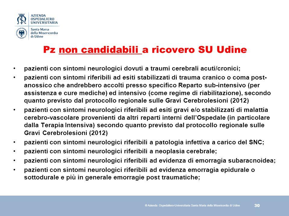 Pz non candidabili a ricovero SU Udine