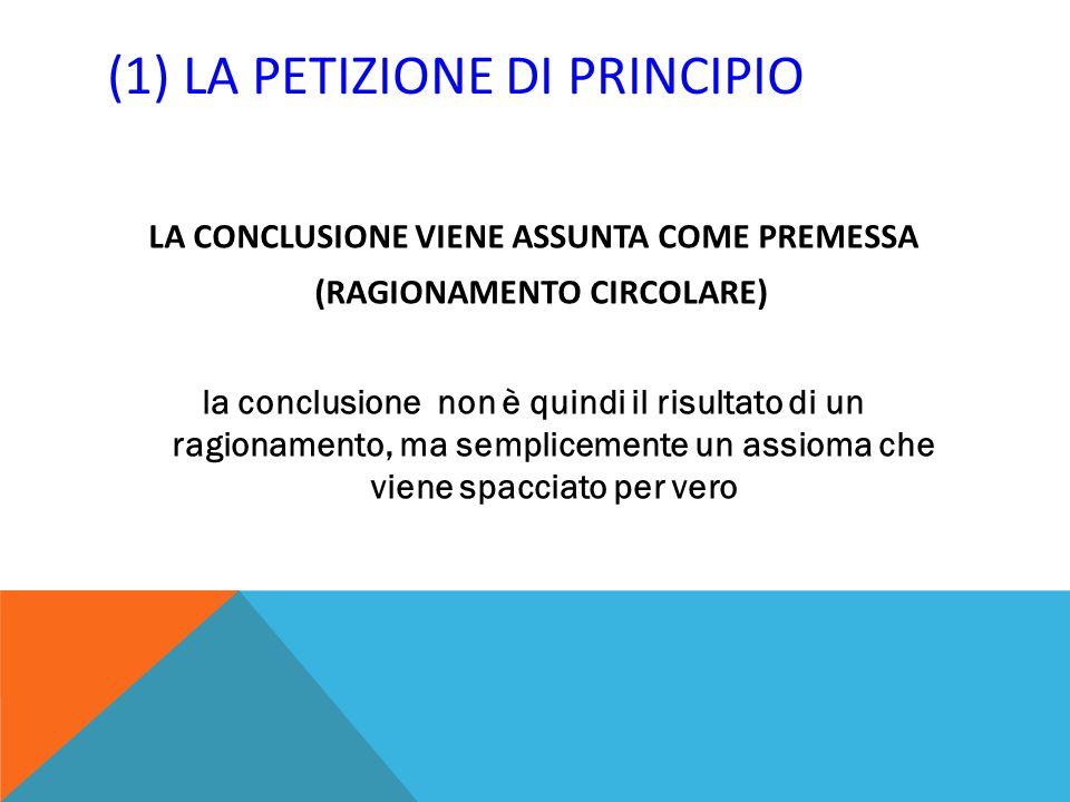 (1) LA PETIZIONE DI PRINCIPIO