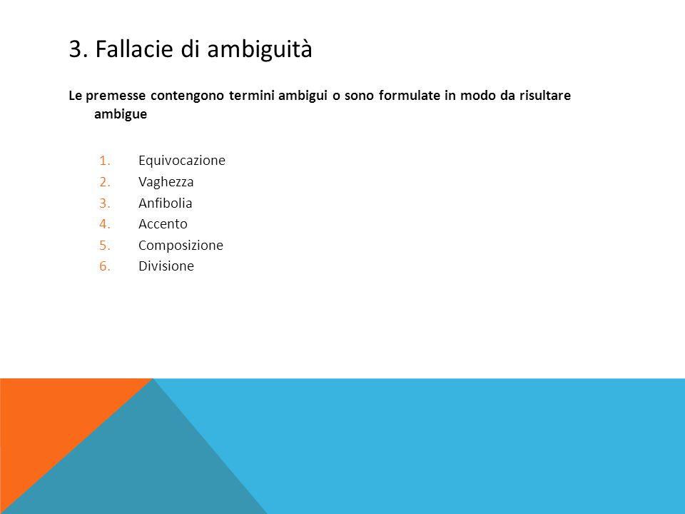 3. Fallacie di ambiguità Le premesse contengono termini ambigui o sono formulate in modo da risultare ambigue.