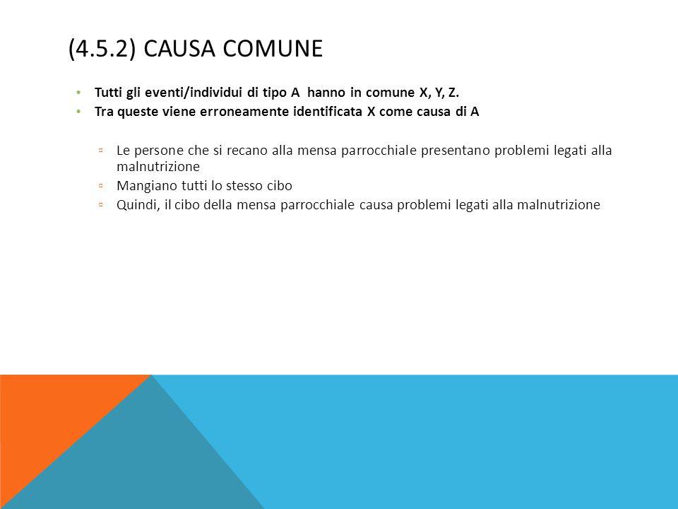 (4.5.2) Causa comune Tutti gli eventi/individui di tipo A hanno in comune X, Y, Z. Tra queste viene erroneamente identificata X come causa di A.